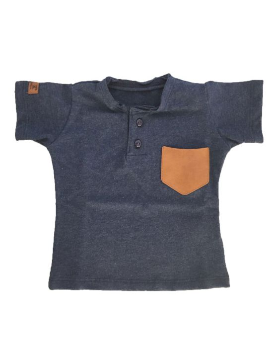 T-shirt placket short sleeve denim Navy blue