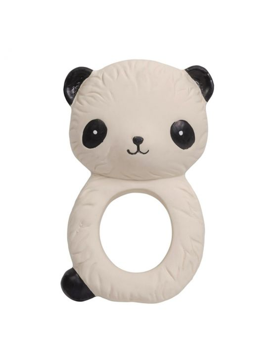 Teething ring rattle, panda White