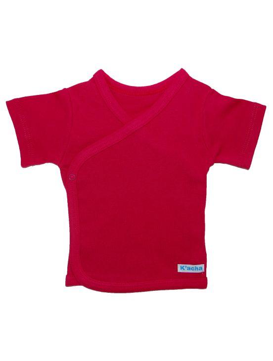 Camiseta cruzada manga corta Fúcsia