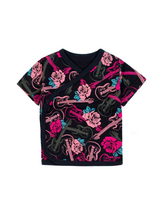 T-shirt cruzada manga curta rock rouses Fúcsia