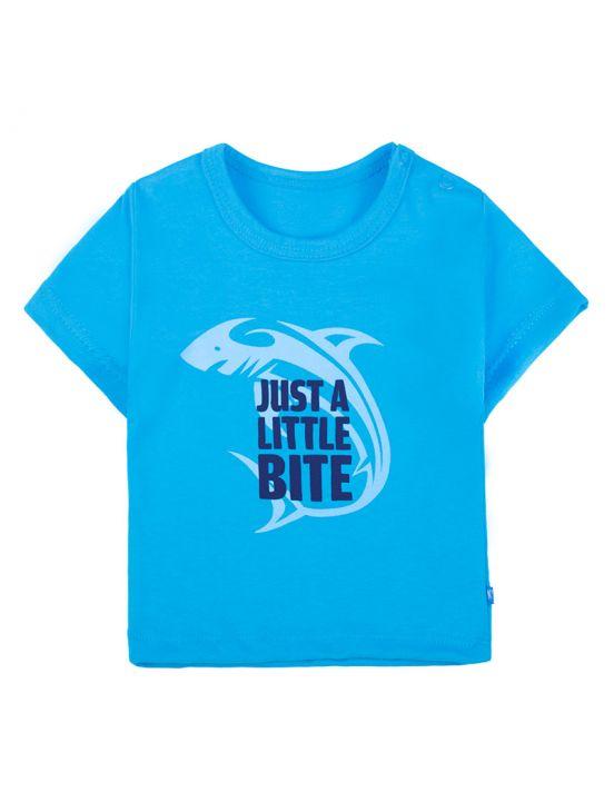 T-shirt manga curta shark Turquesa