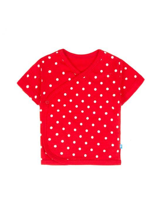 T-shirt avvolgente manica corta con puntiniRosso