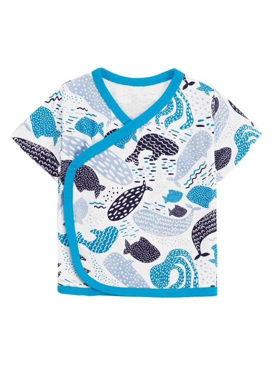 T-shirt cruzada manga curta dik Turquesa