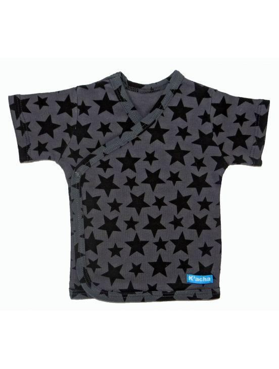 Camiseta cruzada manga corta stars Cinza escuro